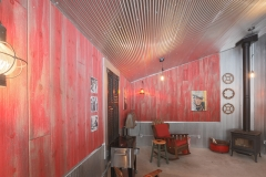 Man Cave using Weathered Red Barnwood