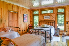 Bedroom W/ Natural Barn Wood and Beaded Paneling with Blue Stain